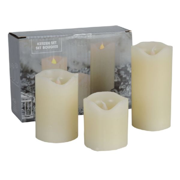 Set 3 velas led 5, 7.5, y 10 cm color blanco